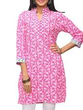 Pink Floral Printed Cotton Kurti - KiFa Lifestyle