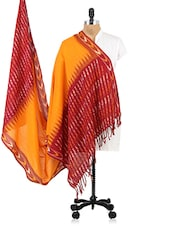 Orange And Maroon Printed Cotton Dupatta - Dupatta Bazaar