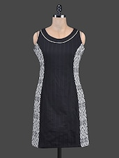 Round Neck Printed A Line Dress - TAURUS