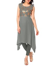 Grey Crepe Highlow Kurta - By