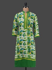 Floral Print Quarter Sleeves Cotton Kurta - MOTHER HOME