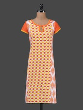 Geometric Print Short Sleeves Cotton Kurta - MOTHER HOME