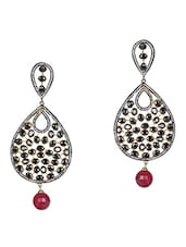 Stone Studded Tear Drop Danglers - Sindoora