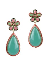 Green Stone Floral Tear Drop Danglers - Sindoora