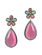 Pink Stone Floral Tear Drop Danglers - By