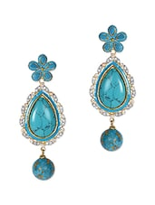 Turquoise Tear Drop Danglers - Sindoora