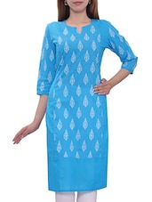 Blue Color, Cotton Regular Printed Kurta - By