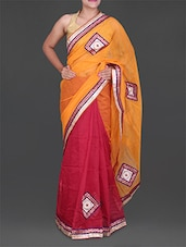 Embroidered Patch Work Cotton Net Saree - Bellezza