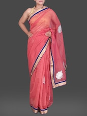 Pink Cotton Net Saree With Embroidery - Creation Sarees