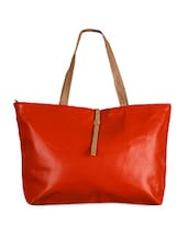 Solid Orange Leatherette Tote Bag - Joker & Witch