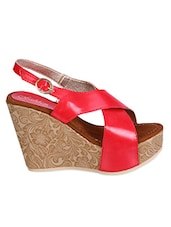 Red Cross Strap Wedges - FASHION MAFIA DESIGN BY AISHLEY