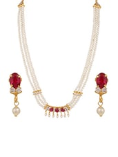 Pink Gold Plated Necklaces And Earring - By