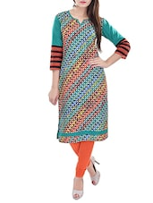 teal blue printed cotton kurta -  online shopping for kurtas
