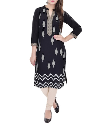 black printed cotton kurta -  online shopping for kurtas