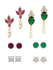 Multi Gold Plated Studs Earring - By