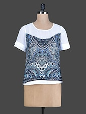 White Printed Short-Sleeved Top - Instacrush