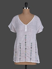 White Sheer Embroidered Cotton Top - Instacrush