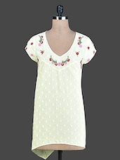 Lemon Yellow Embroidered Cotton Tunic - By