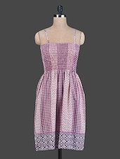 Purple And Pink Printed Cotton Dress -  online shopping for Dresses