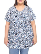 Navy Blue Printed Cotton T-shirt - PLUSS