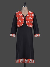 Quarter Sleeves Block Print Kurta With Jacket - Vriddhi