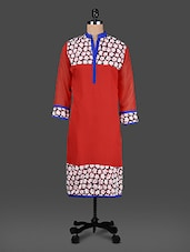 Mandarin Color Quarter Sleeve Flower Pattern Print Kurta - KYLA F