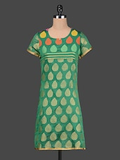 Short Sleeve Round Neck Printed Kurta - By