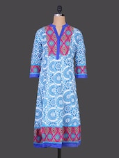 Mandarin Collar Printed Cotton Kurta - By