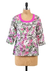 Grey Floral Printed Round Neck Top - Fashion205