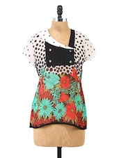 Polka With Floral Printed Short Sleeve Top - Fashion205