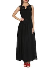 Solid Black Net Sleeveless Maxi Dress - From The Ramp