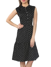 Black Polka-dotted Crepe Dress - From The Ramp