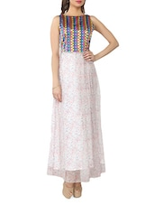 White Printed Chiffon Dress With Multicoloured Bodice - From The Ramp