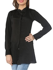 Black Closed Neck Crepe Tunic - From The Ramp