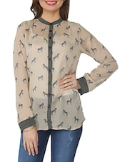 Beige Printed Poly Cotton Tunic - From The Ramp