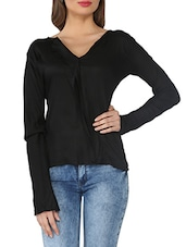 Black Full-sleeved Cotton Blend Top - From The Ramp