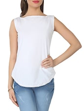 Solid White Sleeveless Cotton Top - From The Ramp