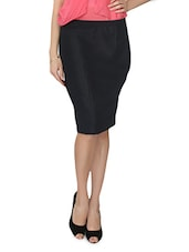 Black Cotton Blend Pencil Skirt - From The Ramp