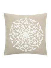 Beige Embroidered Cotton Cushion Cover - Blueberry Homes