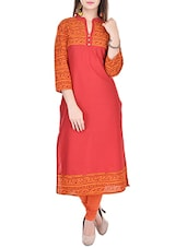 Red Printed Cotton Kurta - By