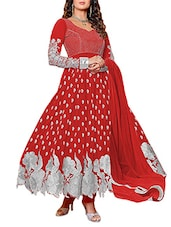 Embroidered Red Georgette Anarkali Suit Set - Whatshop