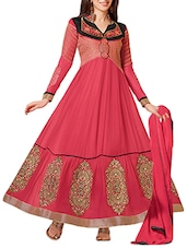 Peach Embroidered Georgette Anarkali Suit Set - Whatshop
