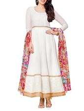 White Embroidered Georgette Anarkali Suit Set - Whatshop