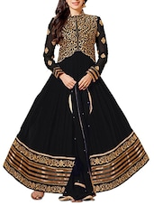 Black Long Embroidered Anarkali Suit Set - Whatshop