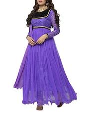 Purple Brasso Work Pure Chiffon Salwar Suit Set - Whatshop