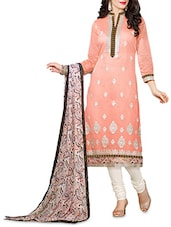Pink Embroidered Chanderi Unstitched Churidar Suit Set - Fabfiza
