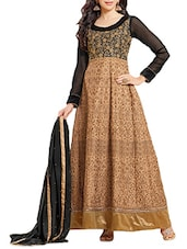 Brown Embroidered Georgette Semi-stitched Gown Style Suit Set - Fabfiza