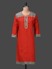 Printed Three Quarter Sleeve Cotton Kurta - London Off