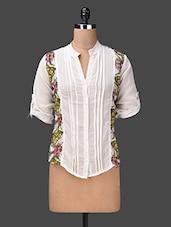Printed Folded Sleeve Georgette Top - London Off