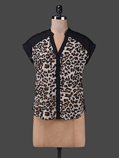 Brown Animal Printed Polyester Top - Oxolloxo